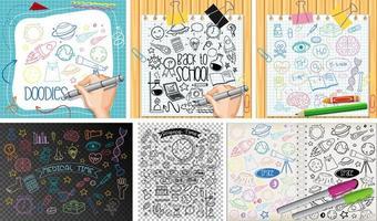 set di oggetti colorati e simboli disegnati a mano doodle vettore