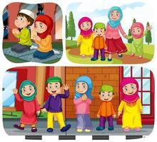 set di personaggi dei cartoni animati di persone musulmane in scene diverse vettore