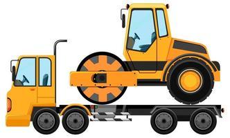 carro attrezzi che trasportano rullo stradale vettore