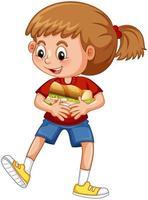 una ragazza che tiene il personaggio dei cartoni animati di cibo isolato su priorità bassa bianca vettore