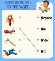 foglio di lavoro corrispondente da parola a immagine per bambini vettore