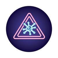 particella del virus covid19 in stile neon con segnale di allarme