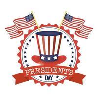 cappello presidente giorno con timbro sigillo bandiera usa vettore
