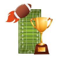 palloncino sportivo di football americano con coppa trofeo e disegno di illustrazione vettoriale campo