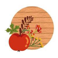 mele autunnali con fondo in legno