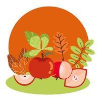 mele d'autunno con foglie