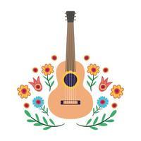 strumento musicale chitarra con decorazioni floreali vettore