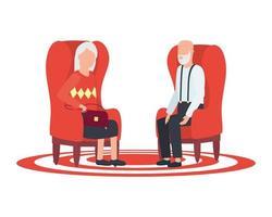 simpatici nonni seduti sulle sedie