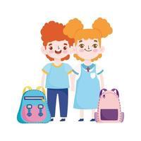 torna a scuola, borsa computer studente ragazzo e orologio educazione elementare cartone animato vettore