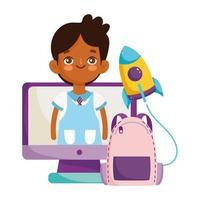 torna a scuola, studente ragazzo sullo schermo pc bacpack educazione elementare cartone animato vettore