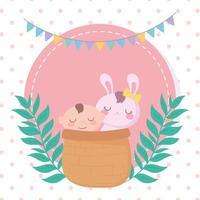 baby shower, ragazzino e coniglio nel cestino, celebrazione benvenuto neonato vettore