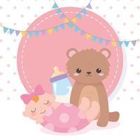 baby shower, orsacchiotto bambina e biberon latte, celebrazione benvenuto neonato vettore