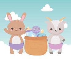 baby shower, simpatica capra coniglietto con ciuccio sonaglio cesto e biberon di latte, celebrazione benvenuto neonato vettore