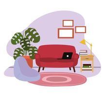 Laptop sul divano lampada da tavolo laterale pianta in vaso e cornici vettore