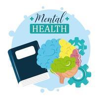 giornata della salute mentale, libro di lettura del trattamento cerebrale colorato vettore
