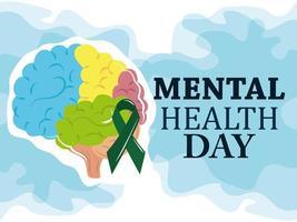 giornata della salute mentale, nastro colorato del cervello umano, cure mediche di psicologia vettore