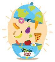 Giornata mondiale dell'alimentazione, piatto di terra a forma di cloche con prodotti, stile di vita sano