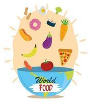 giornata mondiale dell'alimentazione, dieta di frutta verdura che cade nella ciotola, pasto stile di vita sano