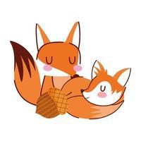 ciao autunno, carino volpi ghianda cartone animato sfondo bianco