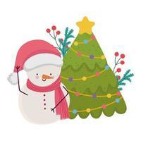 buon Natale, pupazzo di neve e albero con decorazioni di bacche di agrifoglio, design isolato