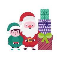buon natale, babbo natale aiutante e decorazione di scatole regalo, design isolato