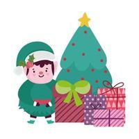 buon natale, albero aiutante dei cartoni animati e scatole regalo, design isolato