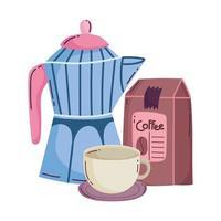 metodi di preparazione del caffè, pacchetto moka e tazza sul piattino vettore