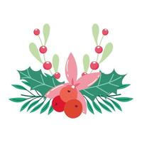 buon natale, fiore della stella di Natale lascia la decorazione di stagione delle bacche dell'agrifoglio, disegno isolato vettore
