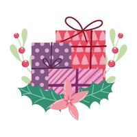 buon natale, scatole regalo fiore agrifoglio bacca cartone animato, design isolato