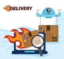 servizio di consegna veloce online relativo al carico dell'ordine vettore