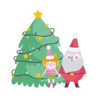 buon natale, santa helper e albero celebrazione icona isolamento vettore
