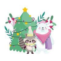 buon natale, orso procione con albero e luci celebrazione icona isolamento vettore