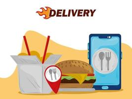 servizio di ordinazione di cibo online per smartphone con consegna veloce vettore