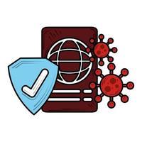 segno di spunta del passaporto di viaggio nuovo normale dopo il coronavirus covid 19 vettore