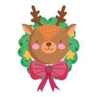 buon Natale, faccia di renna in isolamento icona decorazione ghirlanda vettore