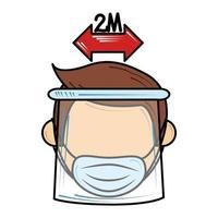 distanza sociale e maschera da indossare nuova normalità dopo il coronavirus covid 19 vettore
