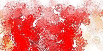 sfondo vettoriale rosso chiaro con fiocchi di neve di Natale.