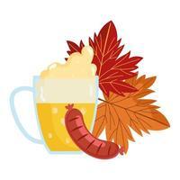 festival oktoberfest, salsiccia autunnale con foglie e birra, tradizionale festa tedesca