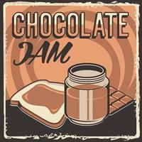 vettore di poster di segnaletica vintage retrò classico rustico di pane di marmellata di cioccolato