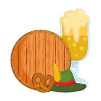 festival dell'oktoberfest, pretzel alla birra e cappello, celebrazione tradizionale tedesca
