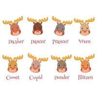 set simpatico cartone animato di renne di Babbo Natale