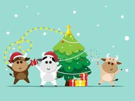 buon natale e felice anno nuovo con bue, mucca carina in cartone animato di partito vettore