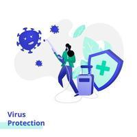 illustrazione della pagina di destinazione per la protezione dai virus vettore