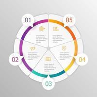 infografica cerchio astratto 5 passaggi per la presentazione o il report