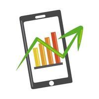 analisi dei dati, schermo dello smartphone con grafici, icona piana di strategia aziendale prospettiva