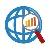 analisi dei dati, icona piana di rapporto finanziario diagramma di lente di ingrandimento del mondo