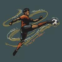 calciatore che dà dei calci a un design a colori retrò pallone da calcio