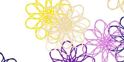 layout naturale vettoriale rosa chiaro, giallo con fiori.