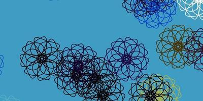 modello di doodle di vettore blu chiaro, giallo con fiori.