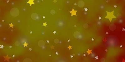 sfondo vettoriale arancione chiaro con cerchi, stelle.